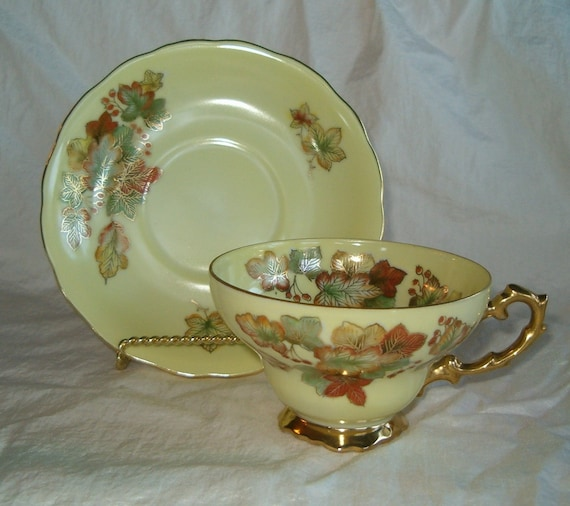 Vintage Chubu China Hand Painted Cherry Yellow Gold Highlight Leaf design Teacup Saucer Plate 4096