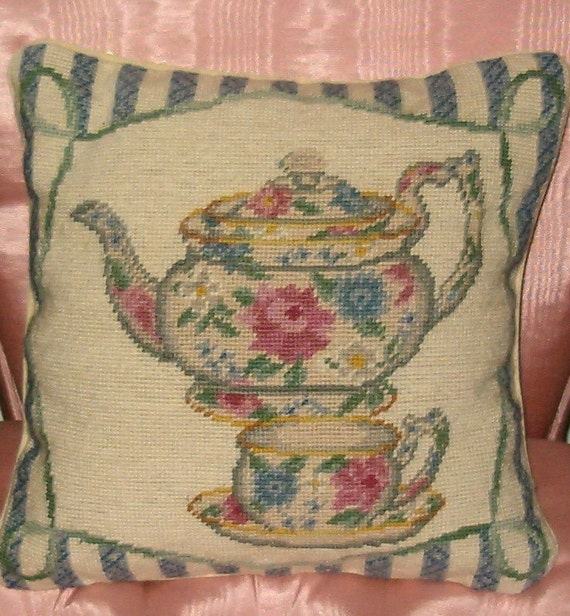 TEACUP and TEAPOT NEEDLEPOINT Vintage look Victorian PILLOW PINK ROSES with Blue Stripes