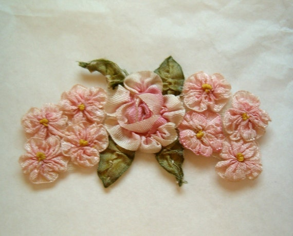 Antique Vintage Silk Ribbon Work Pink Rose Rosette Applique Cluster Ribbonwork Flapper Flower Millinery Trim