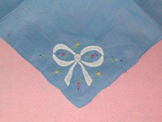 Ladies Vintage Blue Handkerchief Hanky with White Bow Ribbon Applique Floral Embroidery