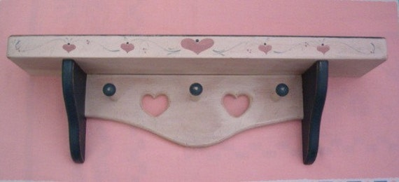 Vintage Wood Wall Large Shelf with Heart Cutouts Cut Outs Green Pegs Tole Painting