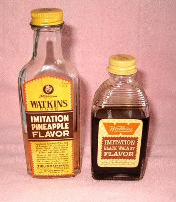 Vintage Watkins Advertising Imitation Black Walnut Pineapple Baking Cake Extract Flavor Glass Bottle Jars