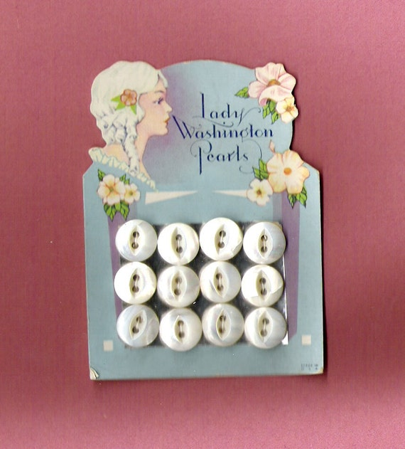Antique Vintage Lady Washington Pearl Buttons on Art Deco Flapper Lady Graphic Card Unused