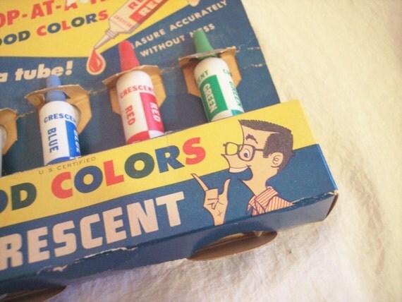 Vintage Crescent Food Color Tubes in Box 1950s Graphics 50s Kitchen Decor