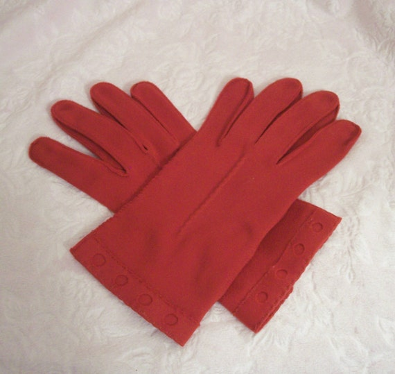 Vintage Red Ladies Women Gloves with Cut Out Design on Wrist Perfect for Valentines Day