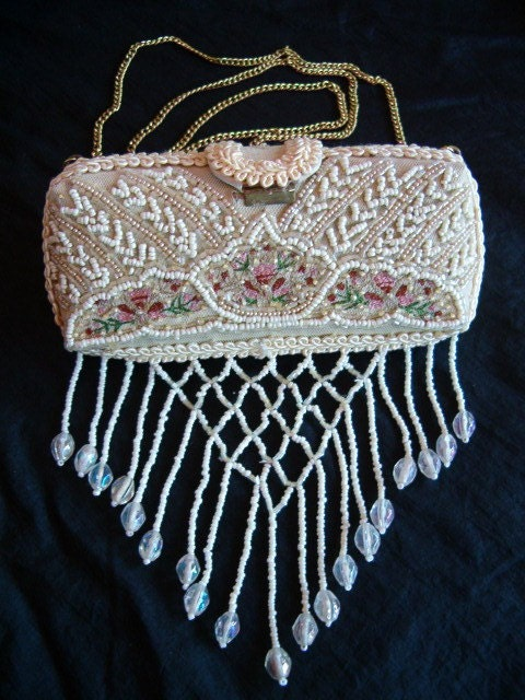 Victorian Beaded Cell Phone Eye Glass Purse Case Holder Seed
