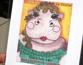 Hippo Greeting Card Set--La Goulue Hippo, Zoulin Rouge Series