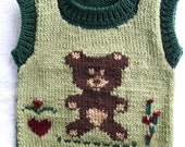 Baby Teddy Bear vest . Size 2T  - 3T . One of a kind Christmas gift.  Hand knit. Ready to ship