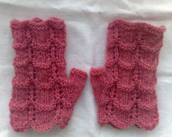 Lace  Fingerless gloves. Light raspberry color.  Women / teen girls Spring fashion. Hand knit. Ready to ship.