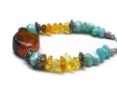 Larimar and Dominican Amber bracelet