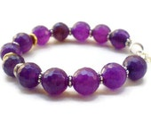 Purple jade Bracelet with lavender faceted jade beads Fall fashion