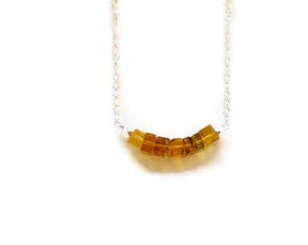 Dominican Amber Golden necklace Minimalist style Geometry Summer fashion jewelry