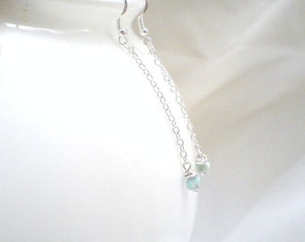 Larimar Dangle earrings simple everyday jewelry