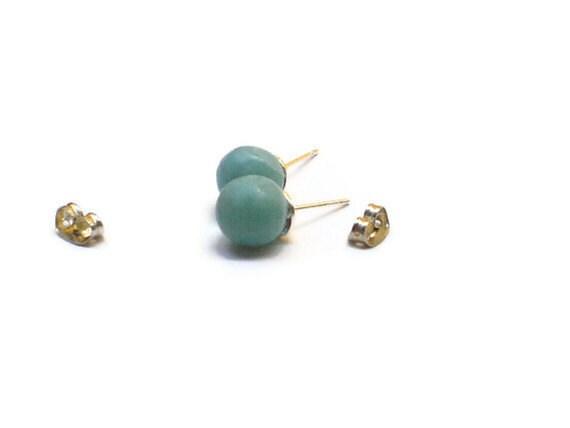 Unisex  Larimar studs Larimar earrings round beads