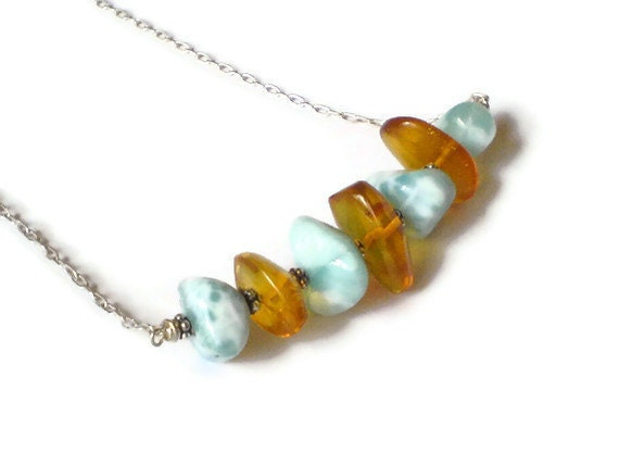 Larimar necklace with Dominican Amber