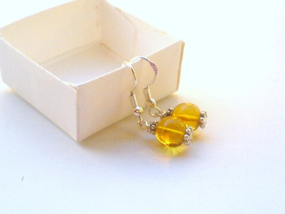Golden Dominican Amber round beads earrings