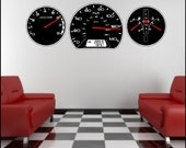 Auto (Car) Dashboard Gauges Wall Decal Removable Auto Gauge Wall Stickers Art  Peel and Stick