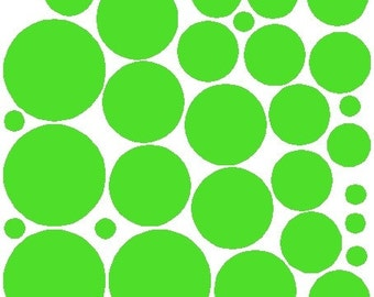 34 Lime Green Polka Dot Stickers Removable Wall Decals Art