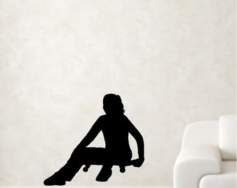 Girl Skateboarder Wall Decal Removable Skateboard Wall Sticker Item #2