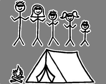 Camping Stick Family Car Decals Graphics Stickers