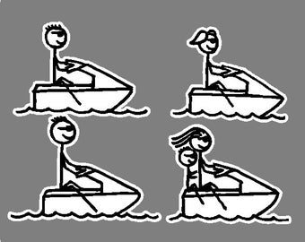 Jet Ski Stick People Car Decals Stickers Graphics