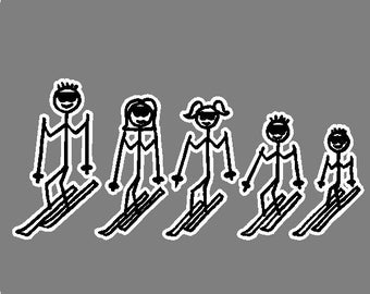 Skiing Stick People Car Decal Removable Skiing Car Sticker