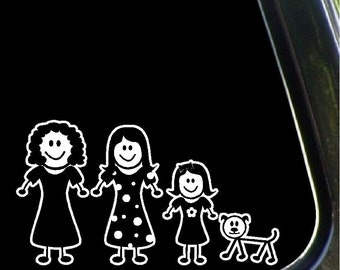 Mom, Daughters, Dog Stick Family Car Decals Removable Stick People Stickers