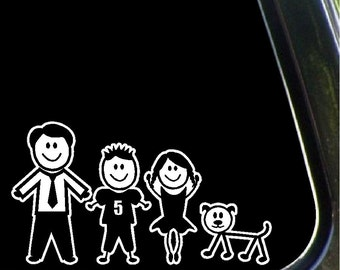Dad, Son, Daughter and Dog Stick People Car Decals Family Stick People Stickers