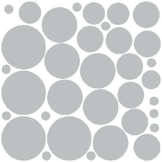 34 Light Gray Polka Dots Wall Stickers Removable Polka Dot Wall Decals Art Graphics