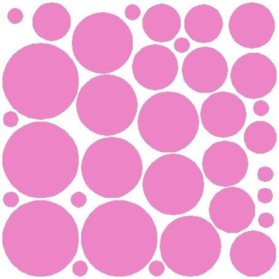34 Soft Pink Polka Dot Stickers Removable Polka Dot Wall Decals