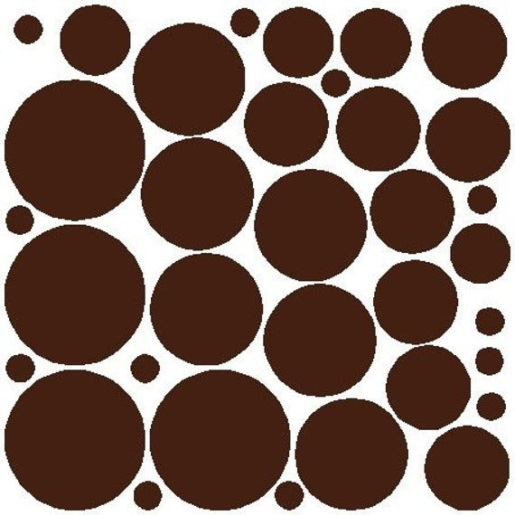 34 Brown Polka Dots Stickers Removable Polka Dot Wall Decals