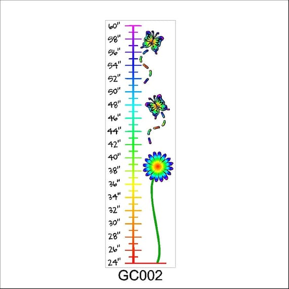 Peel and Stick Flower Growth Chart Decal Removable Growth Chart Wall Sticker Art