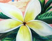 ORIGINAL FRAMED ART Hawaiian Style Watercolor Art, Tropical Sunset Painting, White Plumeria Flower, Wall Art for bedroom, living room, baby