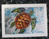 "Tropical Sea Turtle ""Honu Island Waters"" Kauai Hawaii - An Embossed Art Print Greeting Card / Note Cards with Envelope  Christie Marie Art"