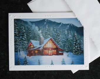 5 CARD SET Greeting Cards Snowy Mountain Winter Cabin, Framable Art Embosed Note Cards + envelopes, Log Cabin Decor Art, Pray for Snow