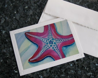 SET OF 5 Tropical Pink Starfish Embossed Greeting Cards / Note Cards, Christie Marie Art- Ocean Stars with envelopes stylized Starfish