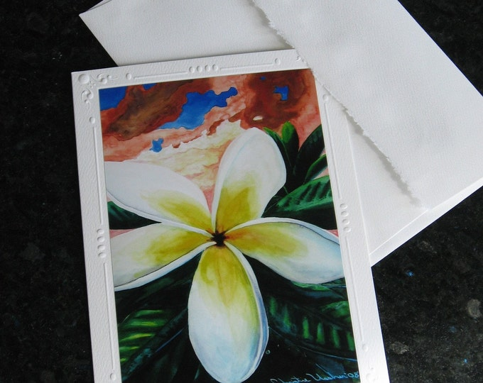 "Hawaiian Plumeria Art Embossed Set of 5 Greeting Cards, Note Cards ""Mahalo Sunset"" Envelopes Tropical Plumeria print by Christie Marie Elder"