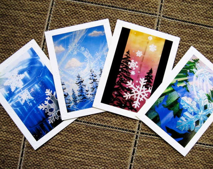Frozen Winter Snowflake, Snow Art card Mix Set of 4 Different Embossed Art Greeting Cards Note Cards Mountain Snowboard Art ChristieMarieART