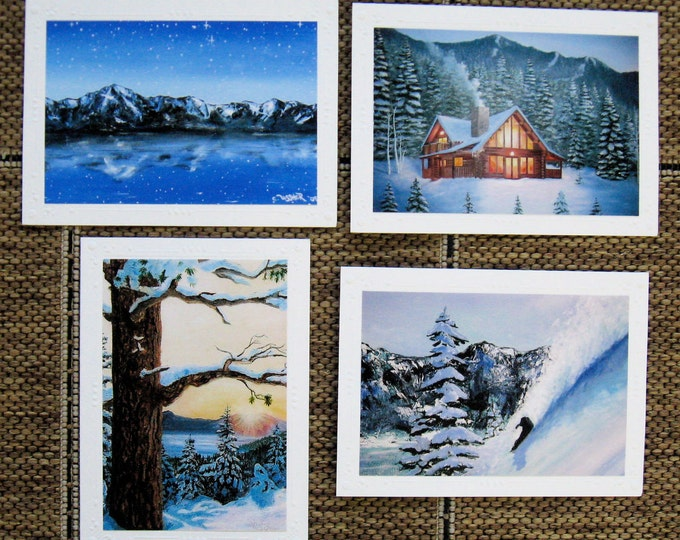 Mountain Winter Framable Art print cards Mix Set of 4 - Art Painting, Snowboarder, Ski Resort, Lake Tahoe Snow, Cards Art Christie Marie Art