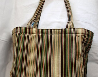 Medium Black-Tan-Green Striped Tote