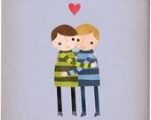 Best Friends - Boys - Customizable 8x10 Archival Art Print
