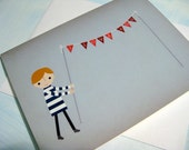 I Love You - Boy with Flags - Note Card