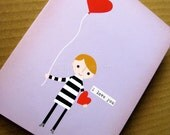 I Love You - Boy with Balloon - Purple Note Card