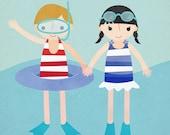 Swim Team - Customizable 8x10 Archival Art Print