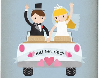 Just Married Wedding Car - Customizable 8x10 Archival Art Print