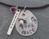 EMMA GRACE     Personalized Handstamped  New Baby Necklace