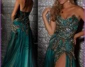 Hand made Peacock Gown Prom  Wedding Gala CUSTOM MADE to your size and favorite color