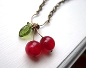 Cherry Necklace with Pink Agate and Glass Leaf Beads - Cherries Jubilee