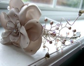 The Sara - Satin Crystal Flower Wedding Headband