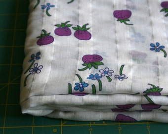 Vintage cotton plisse dimity Voile Fabric retro mod Purple strawberry fruits blue white daisies quilting apparel shirt dress Fabric 2 yards